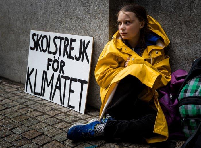 Greta thunberg protestando