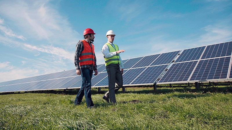 trabajadores con paneles solares